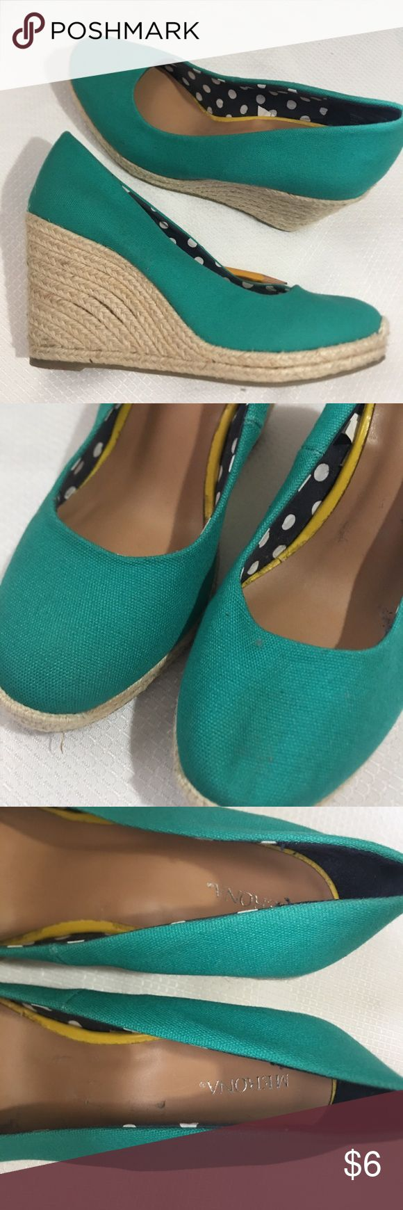Merona Turquoise Wedges Size 9 They need cleaning  Selling as is Merona Shoes Wedges
