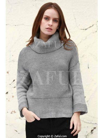 Split Turtleneck Pullover Sweater - LIGHT GRAY L Mobile