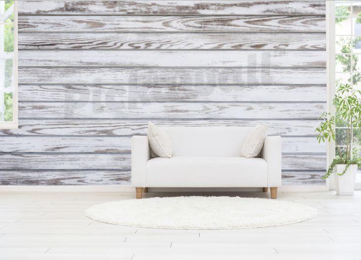 White wood panelling pickawall wallpaper