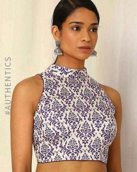 Buy White & Purple Moksh Handblock Print Handwoven Cotton Blouse | AJIO