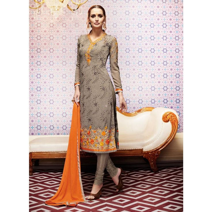 Grey Georgette Party Wear #Churidar Kameez With Dupatta- $45.72