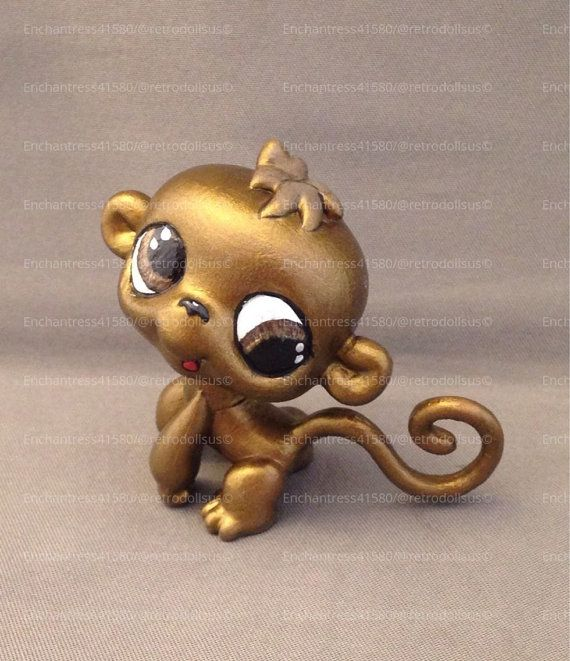Custom Littlest Pet Shop OOAK LPS Brass Monkey by RetroDollsUS