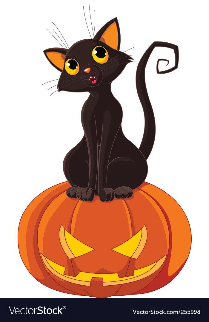 Halloween Cat On Pumpkin Vector Image On With Images Halloween Cat Halloween Images Halloween Pictures