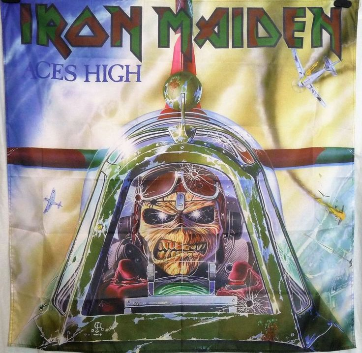 IRON MAIDEN Aces High HUGE 4X4 banner poster tapestry cd album | eBay