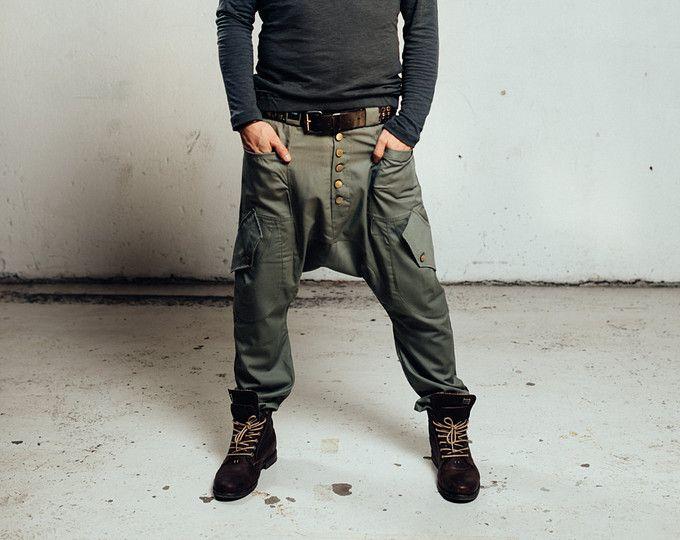 Drop Crotch pants, Drop Crotch Harem Pants, Low Crotch Pants, Drop Crotch Men, Drop Crotch Women, Handmade pants, Cotton Canvas, Green,Beige