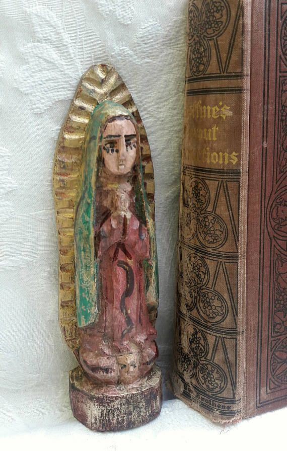 Santos Our Lady Guadalupe Poly-chrome Virgin Mary Carved