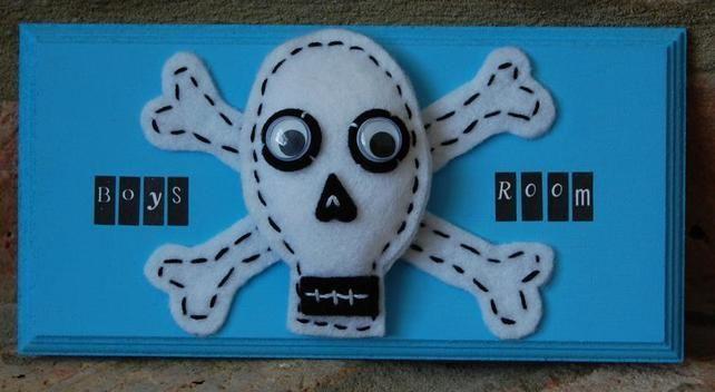 Handmade Children's Room Sign 'Boys Room' Felt Skull and Crossbones  £7.99