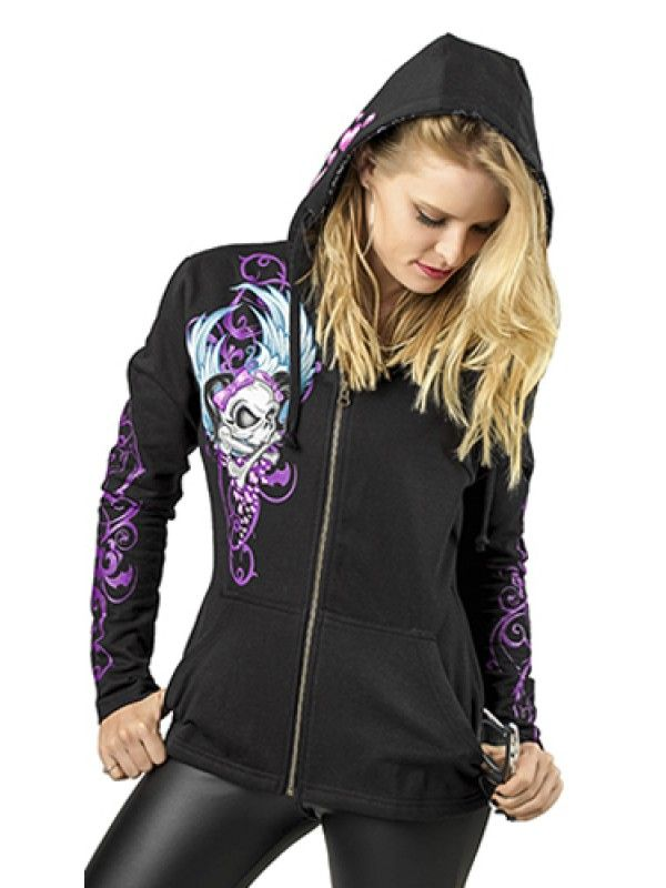 Motorcycle cycle mommas get chilly too! So when your biker boy is riding solo, you can keep warm and happy in this cute black hoodie. This will be a perfect addition to your lady biker women's motorcycle apparel collection.100% black cotton
