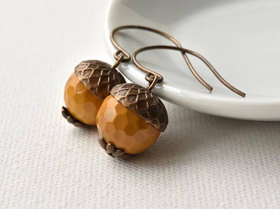 Earrings  Acorn Earrings  Gemstone Earrings  Woodland #acorns #earrings #autumnjewellery #gemstones #mookite #mookaite #jasper