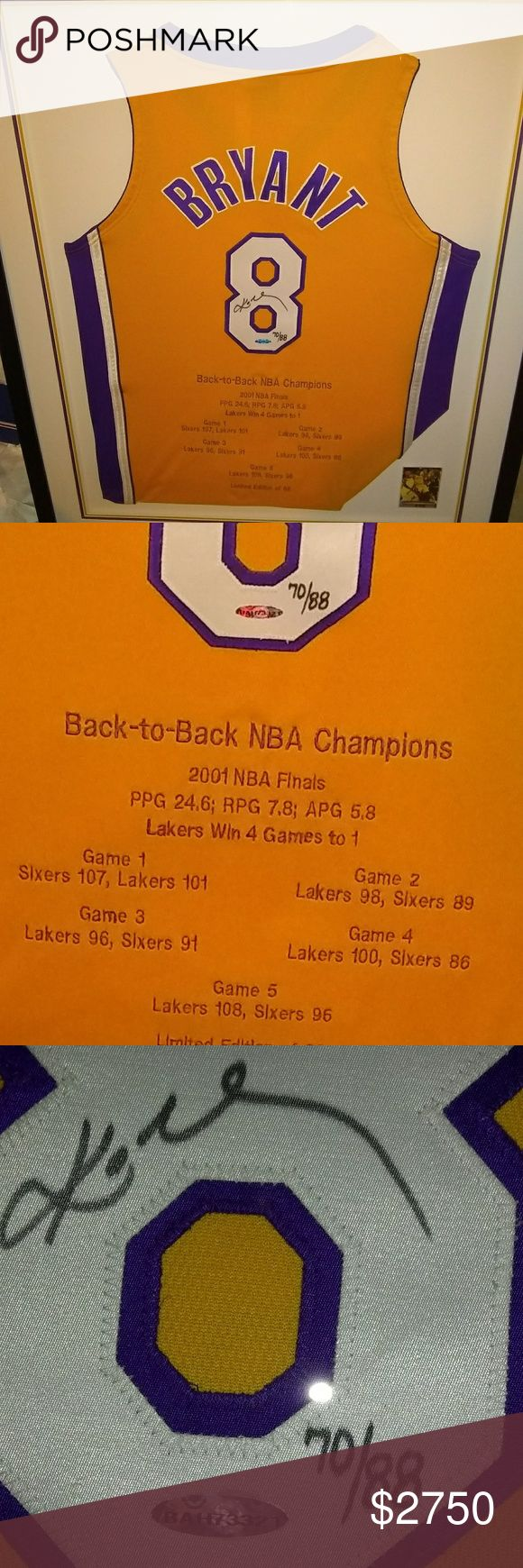 Kobe Bryant Autographed Lakers Final Jersey NWOT. COMES IN FRAMED LAKERS TEAM COLOR FRAME. Etched in Back-To-Back NBA CHAMPIONS. 2001 NBA FINALS. 5 GAMES STATS. LIMITED EDITION 70/88. UPPER DECK AUTHENTICITY HOLOGRAM# BAH73321. MAKE OFFERS. MAKES FOR A GREAT GIFR FOR THAT LAKERS/KOBE BRYANT FAN. MAKE OFFERS NBA Other