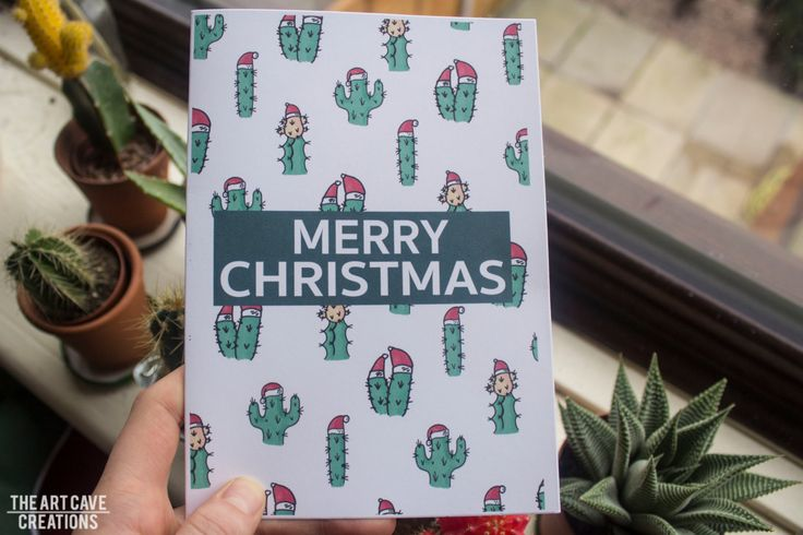 Merry Christmas Cacti Greetings Card // Cartoon Cactus // Festive Season // A5 + Envelope Included by TheArtCaveCreations on Etsy