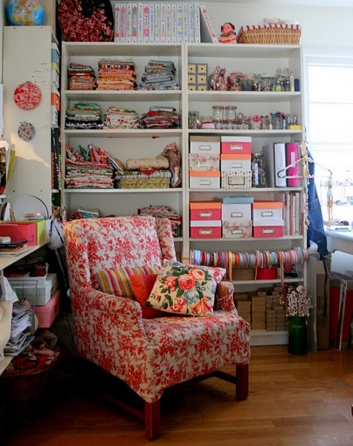 Love that this studio includes a comfy chair -- perfect for dreaming up your next design! Once you've got a project in mind, turn to www.AnniesCatalog.com for the yarn or fabric you need!