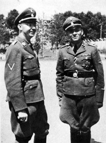 Auschwitz-Birkenau, Poland, Himmler with the death camp commander Hoess, probebly June 1942. Himmler liked to visit to see 'what a good job' they were doing in elimination of the Jews. EVIL