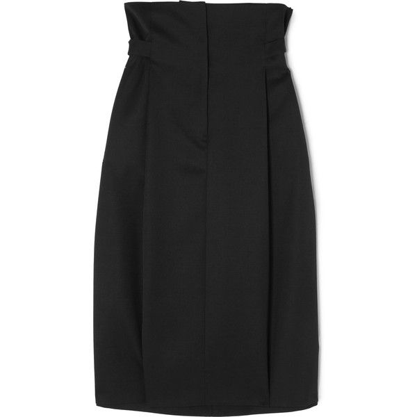ca3ace500ef29 Jil Sander Pleated wool-twill skirt ( 975) ❤ liked on Polyvore featuring  skirts