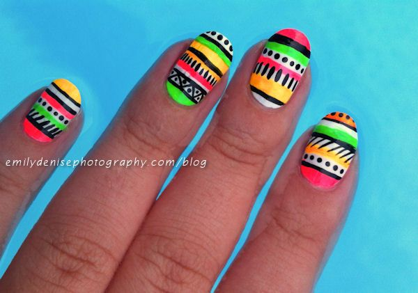 Very Emily » Neon Aztec Nail Art