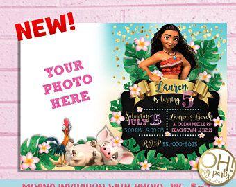 moana invitation with photo moana birthday invitation moana