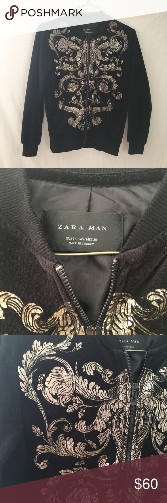 Zara Man Velvet Gold Printed Jacket Sz Small Pre owned Zara Man jacket. Size small, 80% Cotton 20% Polyester. See pictures for details and measurements. Some of the gold detailing shows wear (little bit of cracking). Zara Jackets & Coats