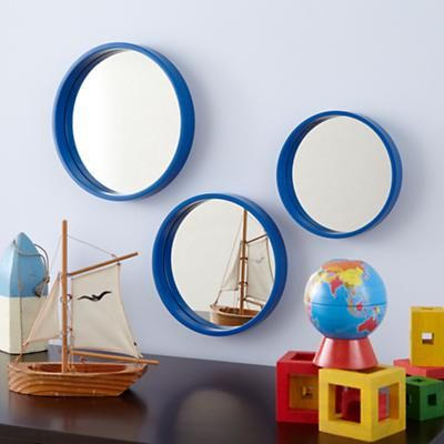 Kids' Mirrors: Kids Round Blue Set of 3 Mirrors in Mirrors - Land of Nod (but I think I can make these)