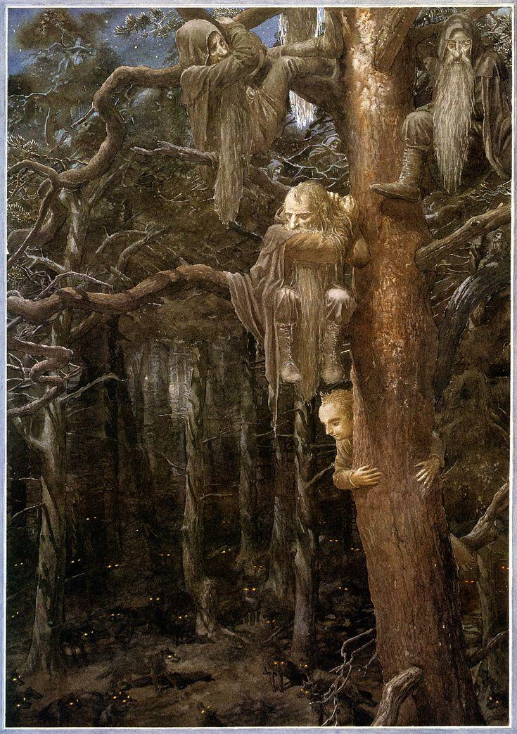 Dwarves and a hobbit up a tree ~ Alan Lee http://geekynerfherder.blogspot.ca/2012/12/movie-poster-art-hobbit-unexpected.html
