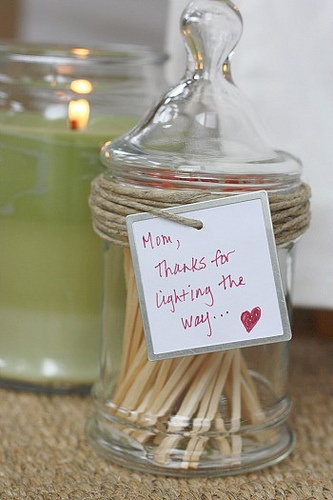 Mother's Day gift idea - Scented Candle & Matches with a special note