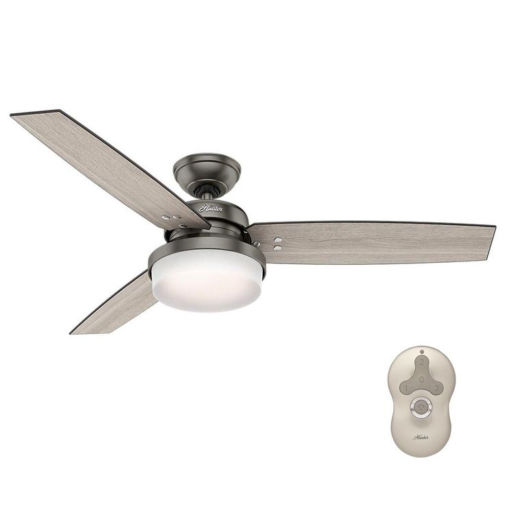 Stunning Hunter Sentinel in LED Indoor Brushed Slate Ceiling Fan with Light Kit and Universal Remote