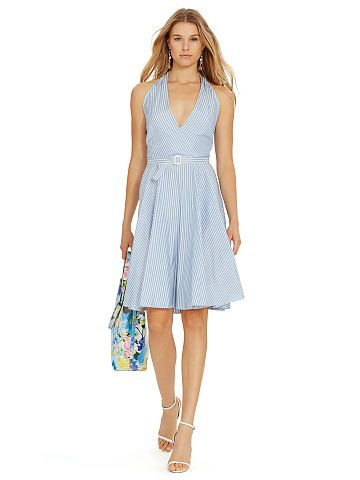 Striped Silk Halter Dress - Polo Ralph Lauren Short Dresses - RalphLauren .com a01e271c375e