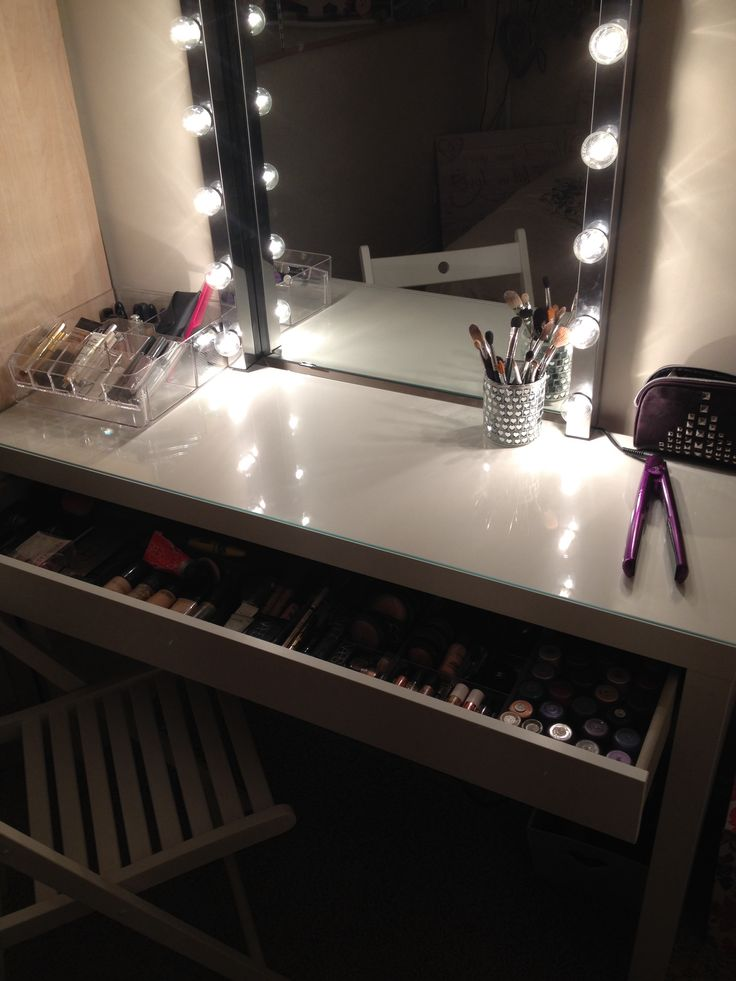 DIY vanity area   makeup station  Using parts mostly from ikea  Malm dressing  table musik lights fitted to a plug kolja mirror godmorgon make up storage. 17 Best images about Makeup on Pinterest   Dressing mirror