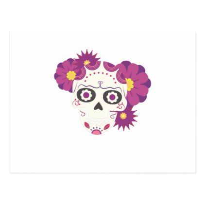 Sugar Flower Skulls  Happy Halloween Funny Postcard - flowers floral flower design unique style