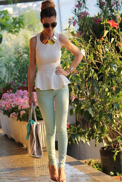 Perfect outfit: white peplum shirt + skinny mint pants Recreate with CAbi Spring '13 thin mint jeggings and any cute white or cream top! (Like the Eliza top from Spring '13).