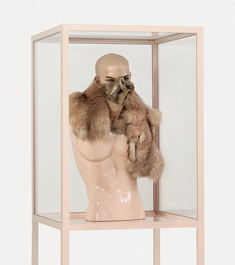"Jan Manski, ""Aetiology Unknown 23,""  2012, fat, leather, fur, mannequin,   animal jaws, enamel, cosmetics, polyvinyl acetate, vitrine"