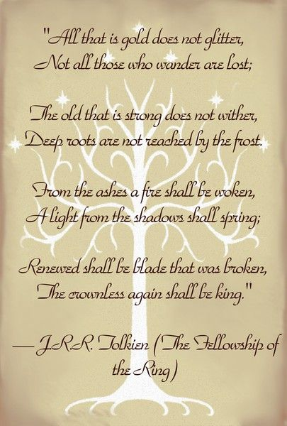 One of my favorite LOTR quotes - and the tree in the background is actually tattooed on my ankle.  :-)
