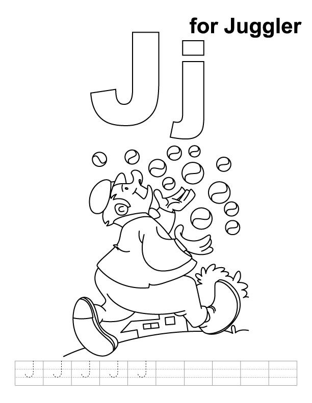 J For Juggler Coloring Page With Handwriting Practice Alphabet Coloring Pages Free Coloring Pages Hello Kitty Colouring Pages