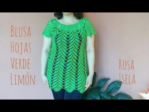 Blusa Hojas verde limón parte 2 - YouTube