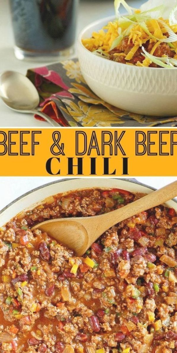 Beef And Dark Beer Chili Recipe From Beef Dark Beer Darkbeer Chili Recipe Recipegirl Super Bowl Superbowl Party Via Beer Chili Recipes Beer Recipes