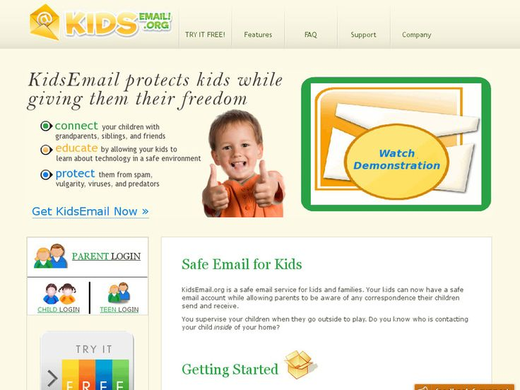 """LINK: http://www.kidsemail.org/ """"KidsEmail.org is a safe email service for kids and families. Your kids can now have a safe email for kids account while allowing parents to be aware of any correspondence their children send and receive."""" - site"""