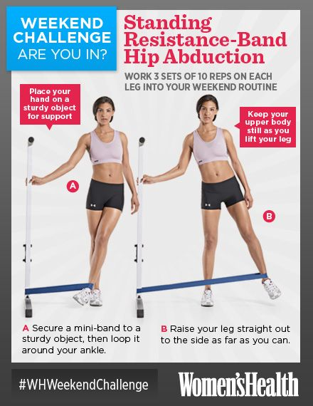 Weekend Challenge: Standing Resistance-Band Hip Abduction - http://blog.womenshealthmag.com/whexperts/weekend-challenge-standing-resistance-band-hip-abduction/