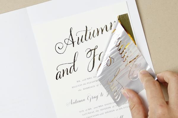 I often get asked how to print in metallic gold foil at home. Although you can't print directly in metallic gold from any home inkjet or laser printer, there are a couple of ways you can add gold foil to your DIY wedding invitations right at home.