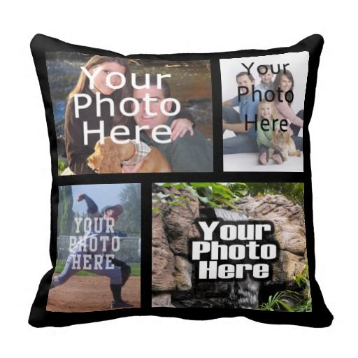 Four Photo Collage Custom Pillow