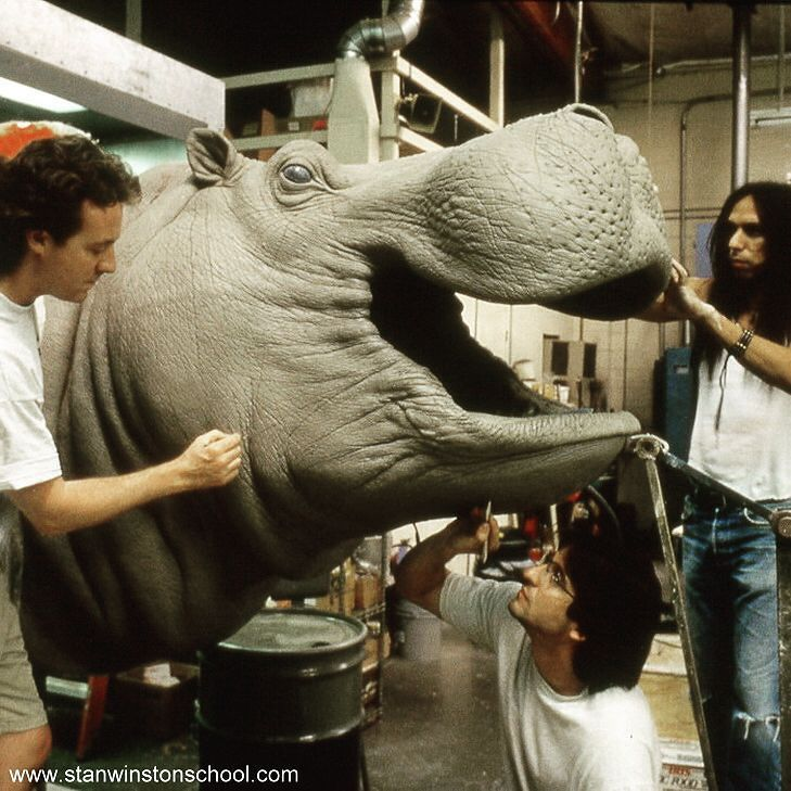 It's so hard to train a hippo so better build one. Miles Teves Paul Mejias and Joey Orosco at their best sculpting in clay the mechanical hippopotamus for the river attack scene in CONGO at Stan Winston Studio.  #congo #hippo #hippopotamus #mechanicaleffects #mechanicalanimals #stanwinstonstudio #behindthescenes #practicaleffects #specialeffects #animatronics #puppets #clay #sculpture #hollywood #moviemagic
