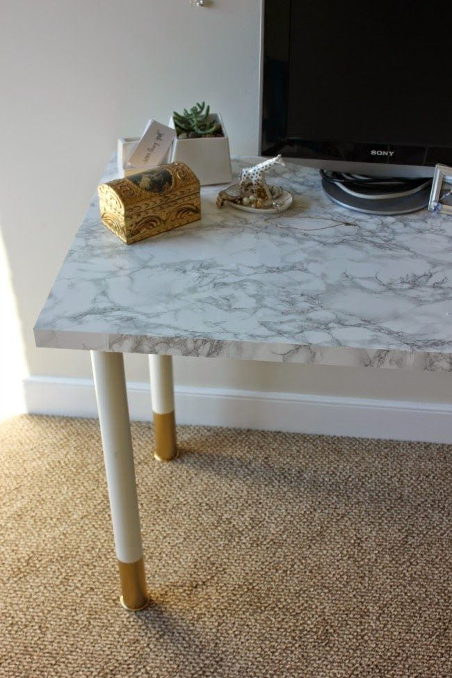 Easy-Peasy Desk DIY | Something Good Marble contact paper