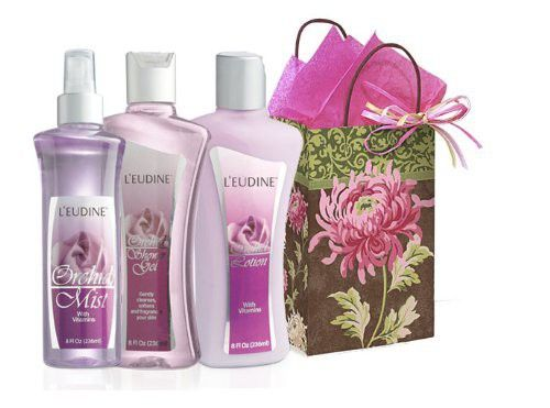 L'eudine 4-piece Orchid Scent Body Gift Set for Women: Curly Peony Gift Bag, Orchid Body Lotion, 8 fl oz, Orchid shower Gel, 8 fl oz & Orchid Body Mist, 8 fl oz