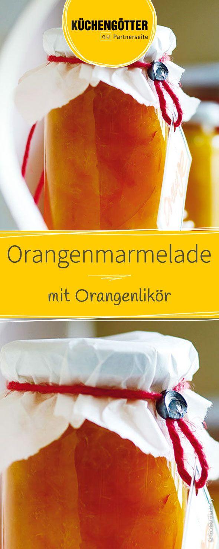 Selbstgemachte Orangenmarmelade mit fruchtigem Orangenlikör zum verschenken! Dieser hausgemachte Aufstrich kann, verpackt in einem Einmachglas perfekt verschenkt werden. Ein liebevolles Geschenk über das sich garantiert jeder freut!