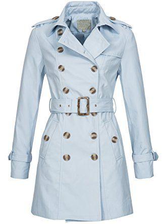 Trenchcoat | Übergangs Jacke | Kurz-Mantel für Damen DS6577 - edler Übergangs Parka mit doppelreihiger Knopfleiste in Blau, Gr. S