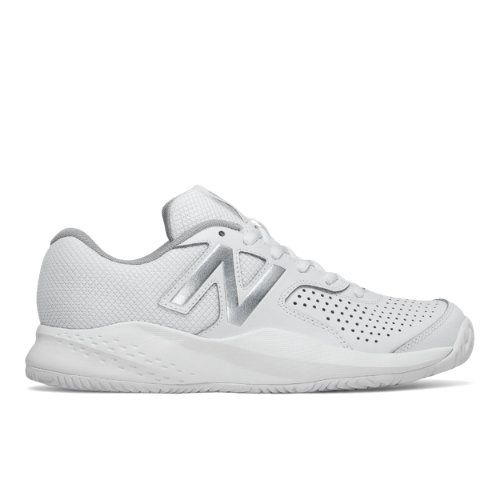 New Balance 696v3 Women's Tennis Shoes - White/Silver (WC696WT3)