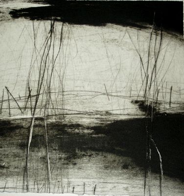 Earth Lines/ by Ross Loveday/  (dry point and carborundum, 22 x 22 cm)