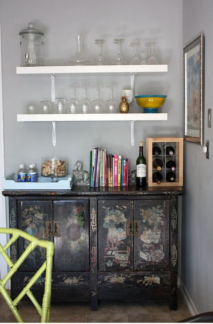 cabinet + shelves = bar.