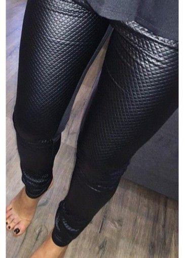 Black Elastic Waist Ankle Length Leggings - USD $24.78