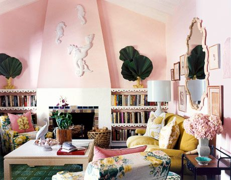 The soft walls reflect light, and make everyone in the room look positively rosy.   - HouseBeautiful.com
