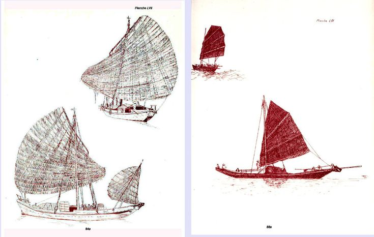 Two drawings of traditional boats from Cua Lo by Pietri