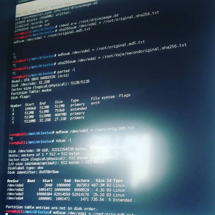 Computer forensics and hard drive image creating. Fun times   #root #Kali #Linux #image #hdd #computer #forensics #digital #life #faculty #private #ITsecurity #bootable #USB #hashing #bruteforce #me #test #diskpart #sha256 #md5 #legal #samsung #S5Photography #reflection #terminal ... by skoljosan